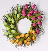 "24"" TULIP WREATH ON NATURAL TWIG BASE"