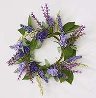 "3.5"" LAVENDER CANDLE RING W/LEAVES"