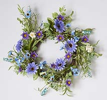 "22"" MIXED BLUE PURPLE WREATH ON TWIG BASE"