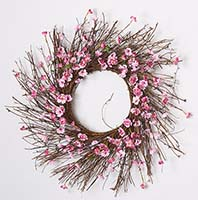 "22"" CHERRY BLOSSOM WREATH ON NATURAL TWIG BASE"