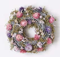 "9"" TWIG WREATH W/WILD FLOWERS"