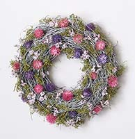"11"" TWIG WREATH W/WILD FLOWERS"
