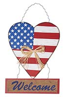 "18"" HANGING WOOD AMERICANA HEART w/WELCOME"
