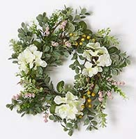 "14"" HYDRANGEA WREATH W/BERRIES & LEAVES"