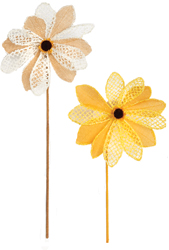"29"" Beaded Crochet & Burlap Sunflower Stem with 8"" Flower Head"