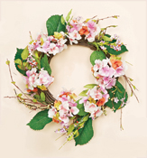 "18"" Pink Hydrangea Wreath on Natural Twig Base"
