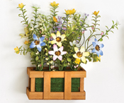 "6"" x 3.5"" X 10"" Brown Wood Open box with Wildflowers"