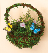 "10"" Twig Moss Butterfly Basket"