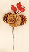 "3"" Pine Cone Pick X 3 With Weatherproof Berries"