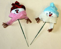 "4"" Snowman Head on 5"" Pick, Pink & Blue Asst"