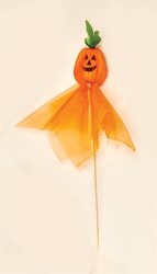 "6"" Organza Pumpkin on 6 ""Pick"