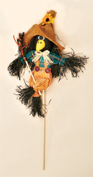 "12"" Crow with Broom on 7"" Stick"