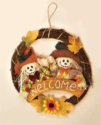 "13"" Welcome Scarecrow Wreath"