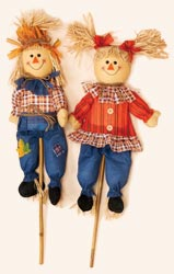 "32"" Boy & Girl Scarecrow on Stick"