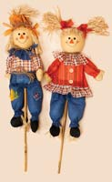"32"" Boy and Girl Scarecrow on Stick"