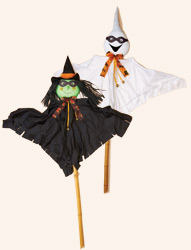 5' Ghost & Witch With Mask on 2 Pieces Pole