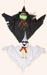"40"" Hanging Halloween Ghost & Witch With Mask"