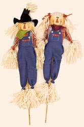 "48"" Denim Scarecrow on Stick"