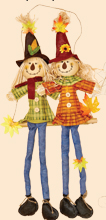"32"" Hanging Scarecrow Couple on Swing"