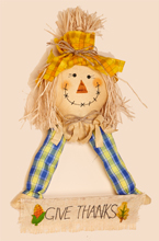 "15"" x 22"" Hanging Scarecrow Holding Welcome Sign"