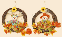 "13"" Twig Wreath w/ Scarecrow & Leaves"