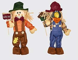 "16"" STANDING SCARECROW WITH SIGN & BIRD HOUSE"