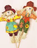 "17"" Girl & Boy Scarecrow on 14"" Stick"