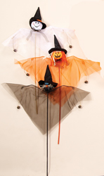 "29"" Gossamer Ghost, Cat, Pumpkin on Stick"