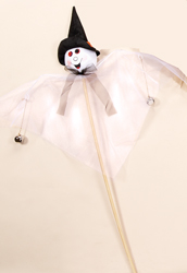 3' White Gossamer Ghost on Stick w/ Bells