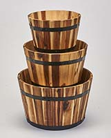 NESTED WOOD BARREL PLANTER,