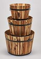 "NESTED WOOD BARREL PLANTER, ""22"",18"",15"""