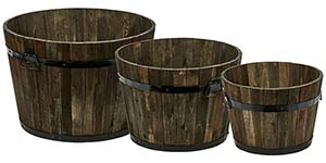 "Wood Barrel Planters with Brown Oil, 22"",18"",15"""