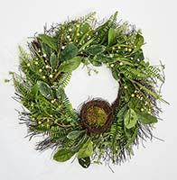 "24"" GREEN LEAVES BERRIES & NEST WREATH ON NATURAL TWIG BASE"