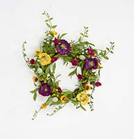 "22"" MIXED FLOWER WREATH WITH PODS ON NATURAL TWIG WREATH"