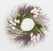 "22"" TULIP HEATHER WREATH ON NATURAL TWIG BASE, PINK"