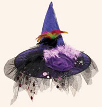 "19"" Purple Decorated Witch Hat"