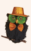 "7.5"" Hanging Black Owl with Orange Glitter Hat- CLOSE OUT"