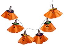 "71"" LIGHTED ORANGE PUMPKIN GARLAND"