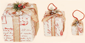 Snow Covered Gift Box w/ Burlap & Berry