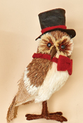 "7"" Standing Grassy Owl w/ Top Hat, CLOSE OUT"