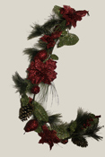 4ft Needle Pine Garland with Glitter Red Fruits and Flowers