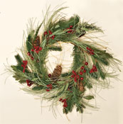 "26"" Mixed Pine & Berry Wreath, ID 9.5"""