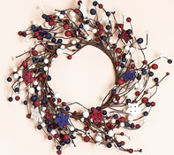 "12"" Berry Wreath w/Wooden Stars"