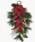 "26"" Needle Pine Teardrop with Red Glitter Fruits and Flowers"