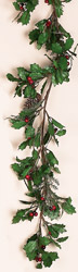 6' Holly & PIne Garland w/Berries & Cones