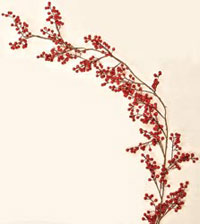 5' Weatherproof Berry Garland, Red