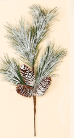 "19"" Snowy Pine Spray w/ 3 Cones"