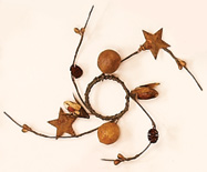 "1.25""  Seed Pod & Rusty Star Candle Ring"