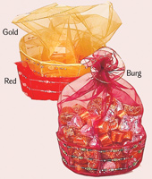 "5"" Organza Covered Basket"