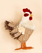 7.5 Standing Burlap & Grass Rooster